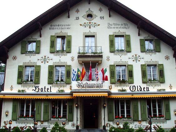 love the green shutters! Gstaad Hotel #Switzerland