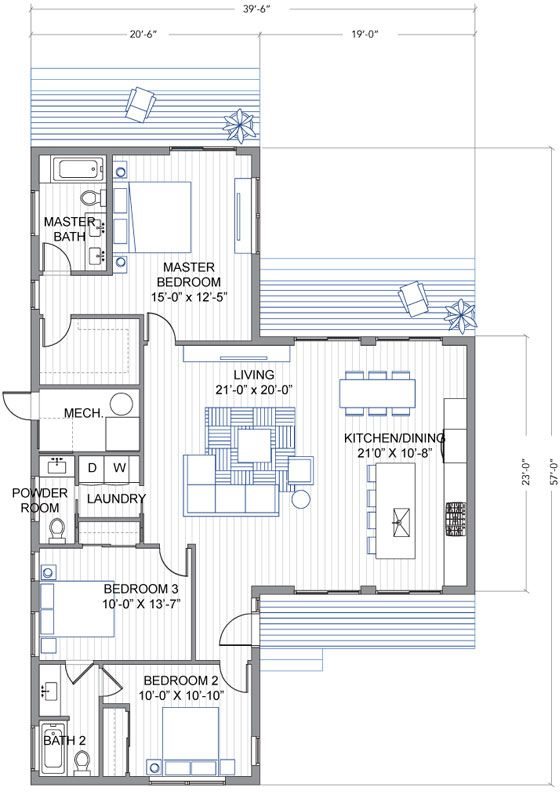 Blu Homes Breeze Aire Floorplan 3 Bedroom 2 5 Bath Blu