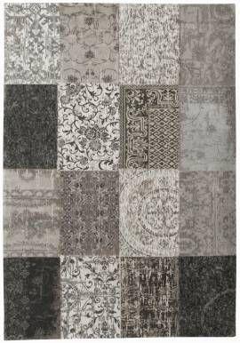 #Patchwork #Teppich | #gefärbt #gewebt || #grau #hellgrau ||  #Vintage-Teppich - Bild vergrößern #wohnzimmer #esszimmer #wohnen #arbeitszimmer #schlafzimmer #diele #www.musterkollektion.de