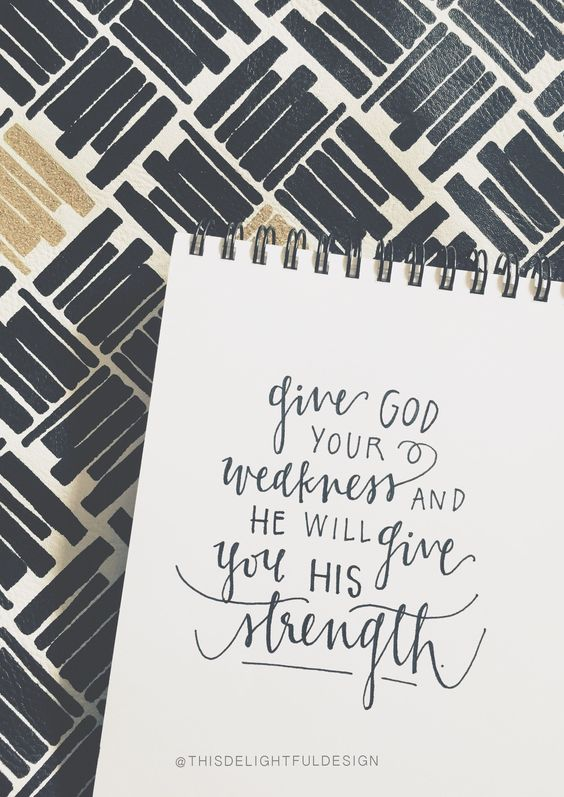 Give God your weakness and He will give you His strength. | Bible Quote Scripture | Hand Lettering | Modern Calligraphy | Home Decor ||   This Delightful Design by Katie Clark: