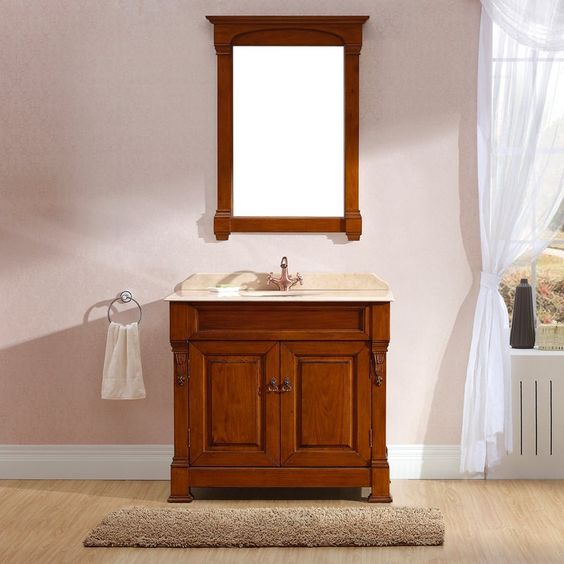 Taurus 1000 Cherry Bathroom Vanity Traditional Solid Wood Free Standing Single Vanity Cabinet