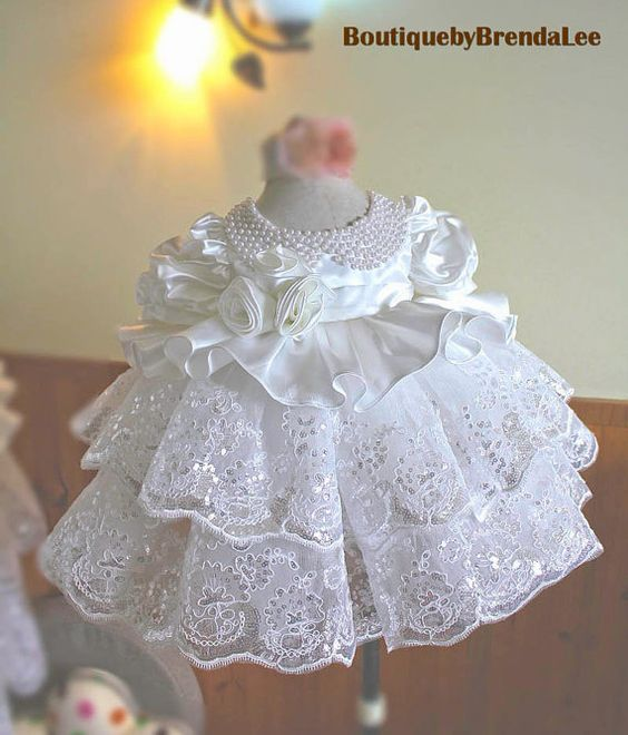 White Princess new born baby/toddler girl dress/gown/bead/flower/lace/satin/infant/christening/baptism/wedding/party/ruffle/blessing/communion
