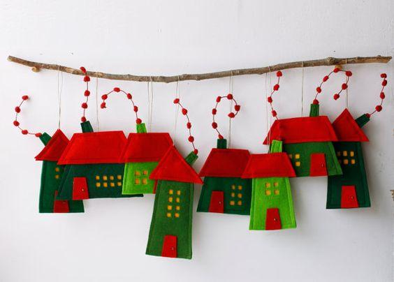 Grupo de ocho decoraci n casas de fieltro para colgar - Casas de fieltro ...