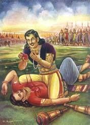 Bhima kills Dusshasana in the battle of Kurukshetra, tears open his chest and drinks his blood and collects it to wash Draupadi's hair to keep his promise: