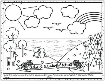 Louis Armstrong What A Wonderful World Coloring Pages Word Search What A Wonderful World Wonders Of The World Louis Armstrong Coloring