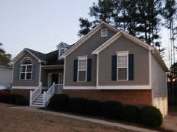 Grey siding black shutters and shutters on pinterest for Brick looking siding