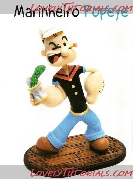 Gumpaste (fondant, polymer clay) Popeye the Sailor figure making tutorial by yvonne