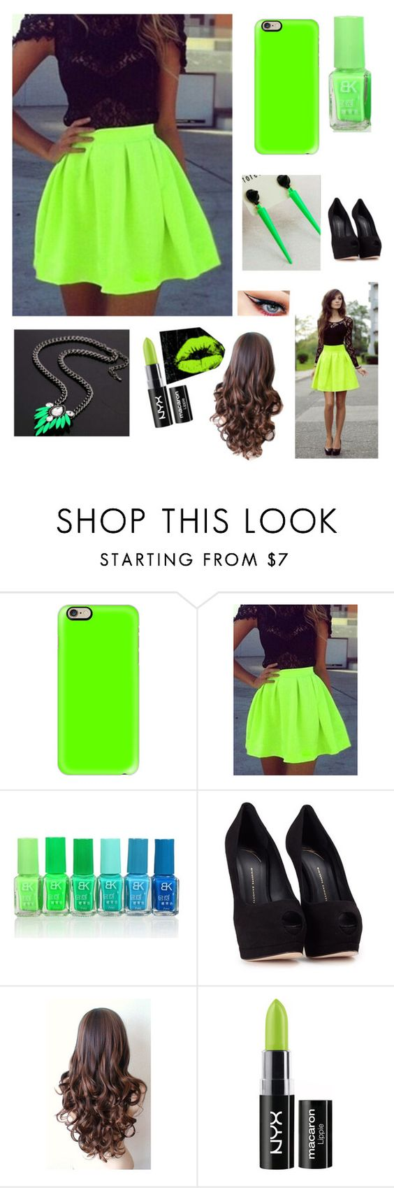 """NEON LOVE"" by vaibhavkaushik ❤ liked on Polyvore featuring Casetify, Giuseppe Zanotti and NYX"