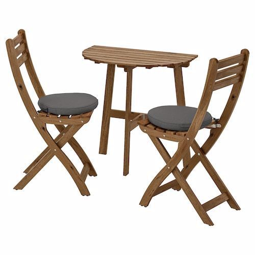 Applaro Table And 2 Folding Chairs Outdoor Brown Stained