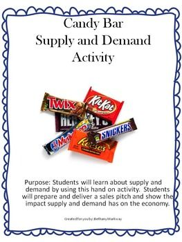 Candy Bar Supply and Demand Activity Purpose Through this hands on activity students will learn the importance of preparing and giving a sales pitch, as well as, how supply and demand impacts the economy and the products produced. This activity can be used as an attention grabber at the beginning of the year, lesson, or even a the end of the lesson as a review.