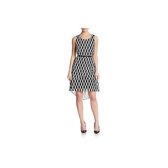 Jessica Simpson Tiered Diamond-Print Dress ($40) ❤ liked on Polyvore
