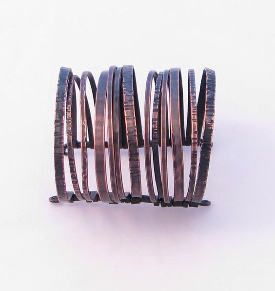 Copper Cuff Bracelet - Blackened Layered Bangles Bracelet - Nomad Gypsy by Jamie Spinello