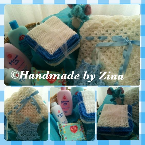 #crochet baby blue hamper. Comes gift-wrapped.  £65 exc. p
