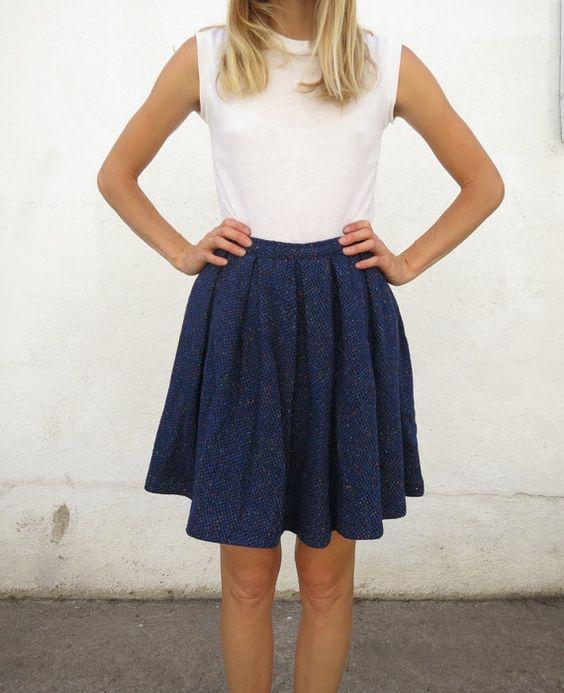 Skirt Wool Pleated Twill Vintage 60s