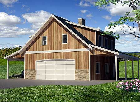 Plan 35445gh guest quarters or rental income shop plans for Carriage barn plans