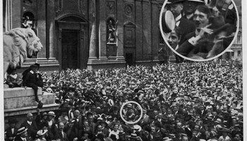 A young Hitler cheers the start of World War One, 1914