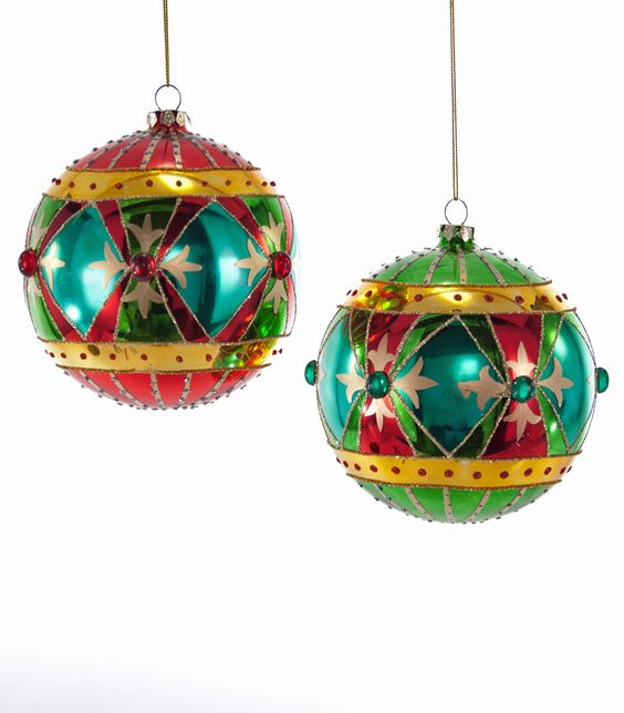 Katherine's Collection Noel Christmas Collection Eight Assorted 120 mm Noel Jeweled Glass Circus Ball Ornaments Free Ship