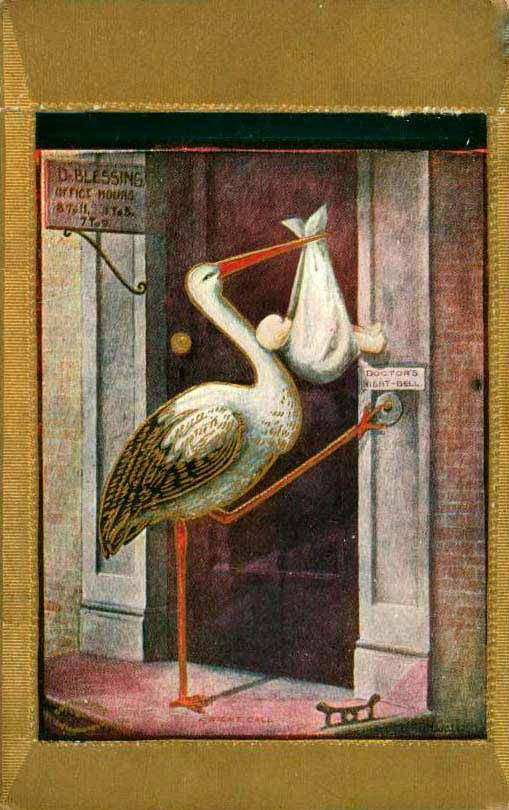 Vintage Stork at doorbell postcard: