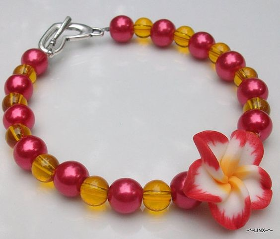 Plumeria Summer sunset Pearl bead bracelet / eight by Obsidianrain, $14.99