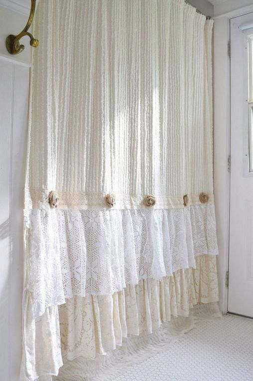 Burlap Shower Curtain Shabby Chic French Lace Pink Distressed Handmade Rustic