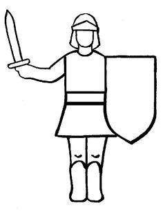 Simple knight coloring page - upside down drawing - pull out of the envelope bit by bit