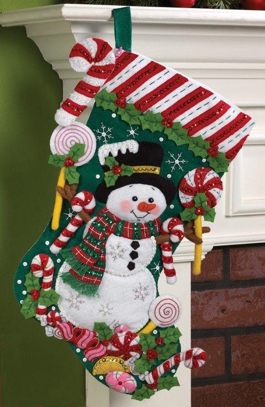 Candy Snowman Bucilla Christmas Stocking Kit: