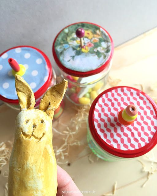 schaeresteipapier: Karussell mit Hase oder Ostern im Glas