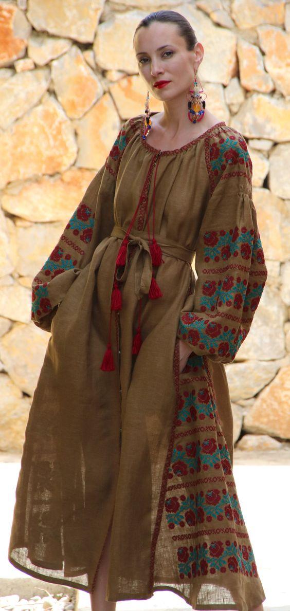Rustic olive Vita Kin style linen vyshyvanka linen MIDI Burgundy Teal Embroidery. Sizes - XS-XXL MD003-001