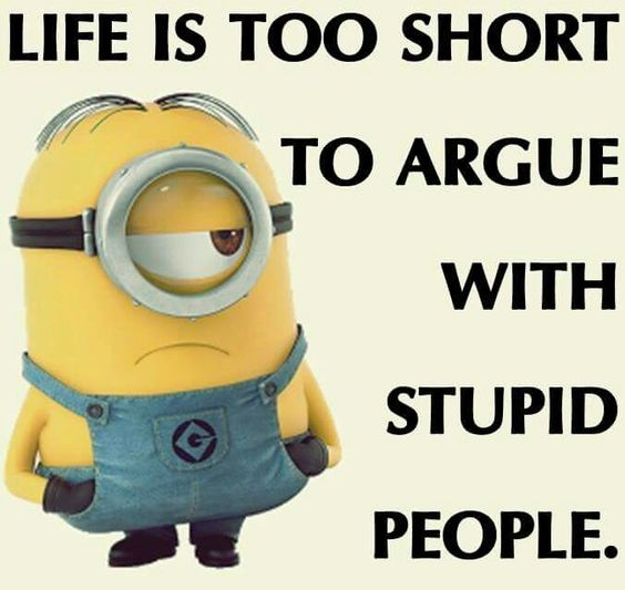 Don T Waste Time Arguing With Stupid People Cute Funny Quotes Minions Funny Laugh Out Loud Jokes