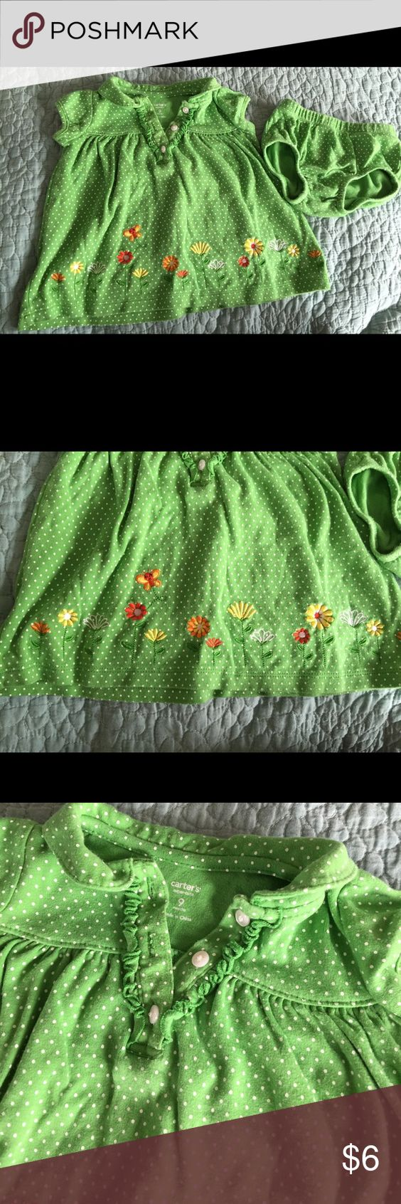 Green dress baby images  Carters baby girl dress with matching diaper cover  Baby girl