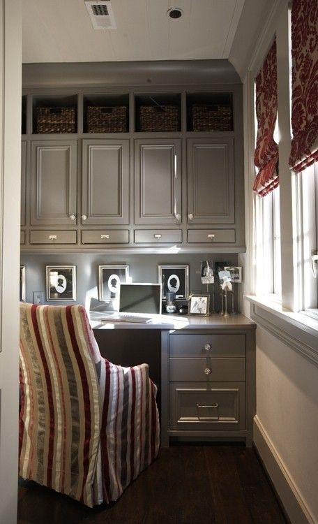 Excellent Using Kitchen Cabinets For Home Office  Best Home Design And