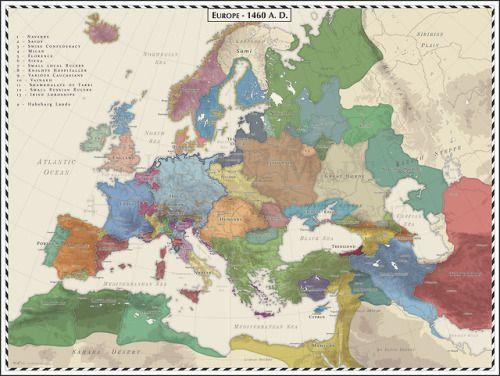 Europe 1460 Ad Historia Mapa Zdjecia