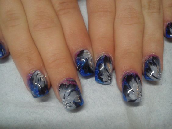 grey and black full petal nail art on acrylic nails