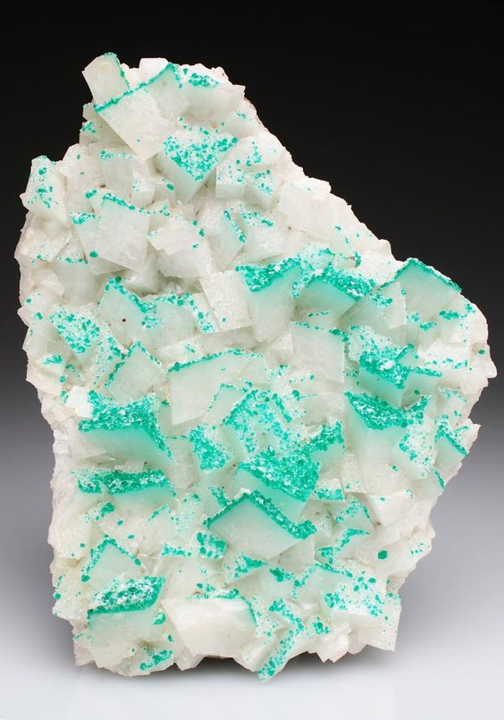 Minerals and Crystals — Dioptase on Calcite - Tsumeb Mine, Tsumeb,...