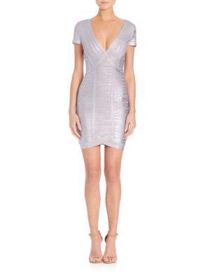 HERVE LEGER V-Neck Bandage Dress. #herveleger #cloth #dress