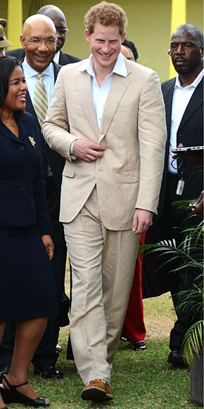 #PrinceHarry looked casual and chic in a khaki suit during his visit to Kingston, Jamaica. http://news.instyle.com/photo-gallery/?postgallery=103239#12