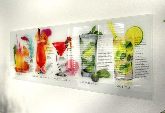 Glasbild »Cocktail«, 33x95 cm Küche ⌂ Kitchen Pinterest - glasbild für küche