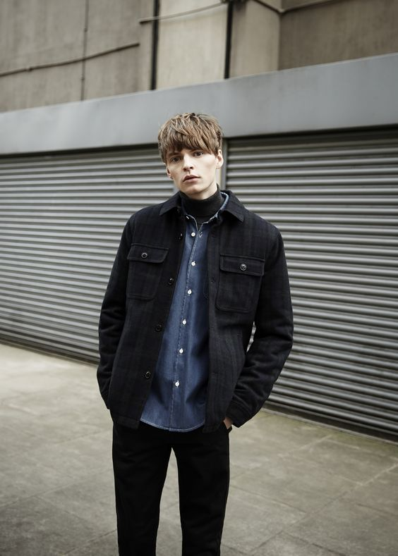 Check jacket, denim shirt and roll neck // street style, men's fashion by Topman