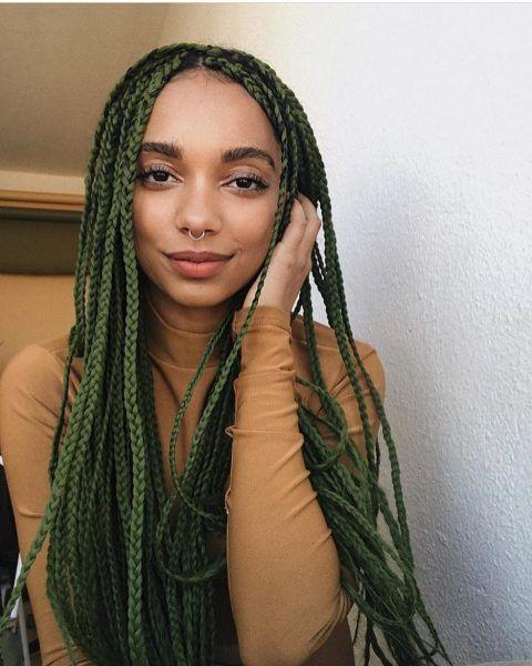 14+ Ombre green box braids ideas