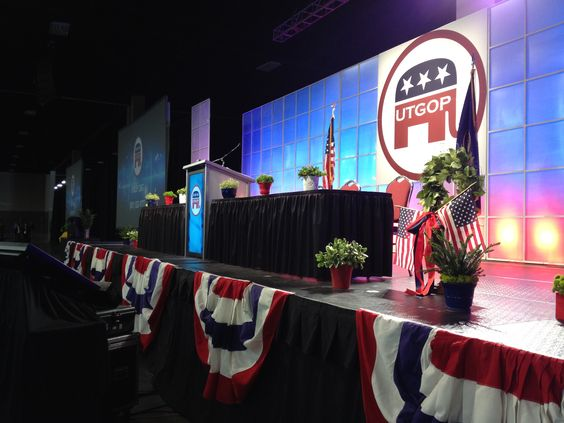 #UtGOP Utah Republican Party Convention 2012. Photo courtesy of Webb Audio Visual. The speaking dias. Beautiful set-up.