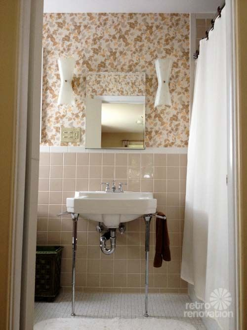 New vintage wallpaper and lighting for pam 39 s bathroom for Brown tile bathroom ideas