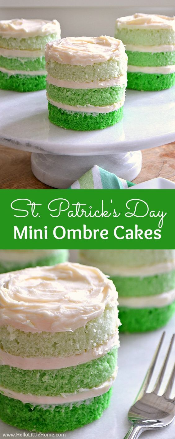 St. Patrick's Day Mini Ombre Cakes ... the perfect dessert recipe for St. Patty's Day! Easy step by step tutorial and recipe for making layered ombre cakes. A fun green St Patrick's Day recipe ... or customize the colors for any ocassion!