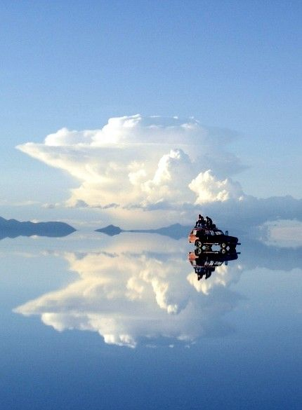 The Uyuni salt flats of Bolivia. It's as if the heavens are endless.