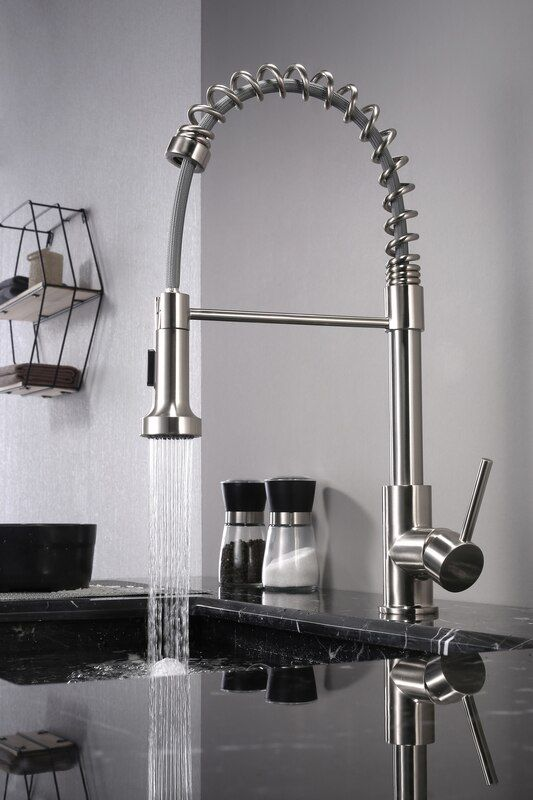 Lanuvio Brass Kitchen Faucet W Pull Out Sprayer Brushed Nickel