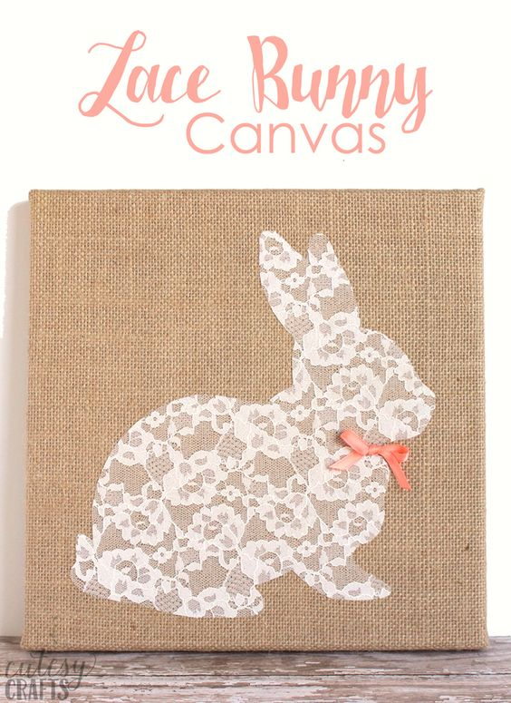 Easter Bunny Craft - Lace Bunny Canvas: