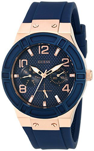 GUESS Women's U0571L1 Iconic Blue Multi-Function Watch with Day, Date & Comfortable Silicone Strap | Smart Pinner
