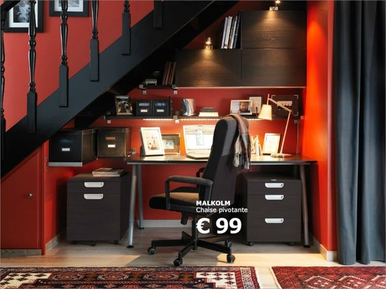id e d 39 am nagement d 39 un bureau sous un escalier ikea seb. Black Bedroom Furniture Sets. Home Design Ideas