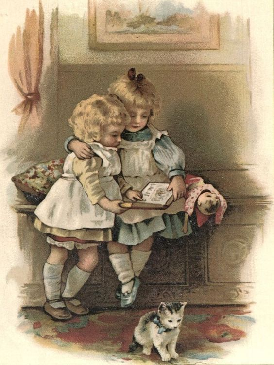 Sweet Little Girls Reading Book w Kitten pinafore dress lithograph vintage print: