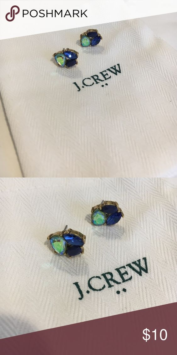 J. Crew Crystal Trio Earrings J. Crew crystal trio post earrings in blue. Worn once. J. Crew Jewelry Earrings
