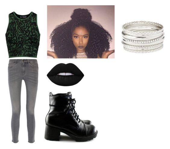 """""""Slytherin House Pride"""" by pastelchina on Polyvore featuring Opening Ceremony, M.i.h Jeans, Lime Crime and Charlotte Russe"""
